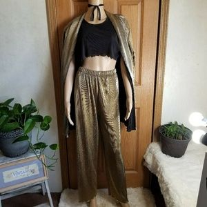 70s Gold Lame Pleated pants crop top & jacket